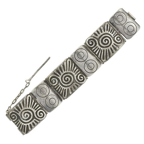 SPRATLING Early Vintage Mexican Sterling Panel Link Bracelet