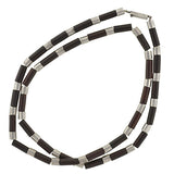 SPRATLING Vintage Sterling Rosewood Tube Link Necklace