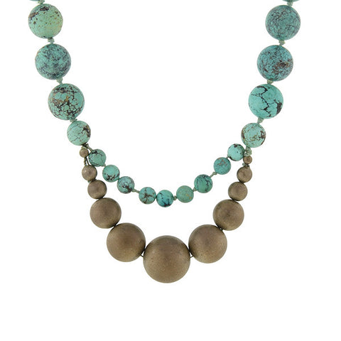 STEPHEN DWECK Vintage Large Sterling Gilt & Turquoise Bead Necklace