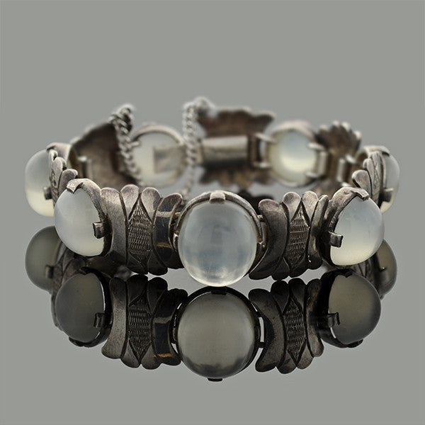 Art Deco Sterling & Moonstone Engraved Link Bracelet