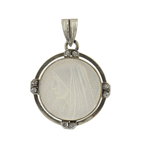 "Art Deco 14kt Mother of Pearl & Diamond ""Saint Fabiola"" Charm"