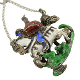 Edwardian Sterling & Enamel St. George & the Dragon Pendant