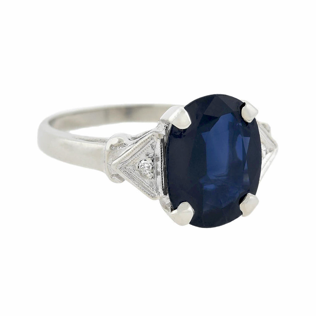 Estate 14kt White Gold Sapphire + Diamond Ring 3.45ct