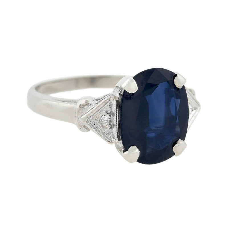 Art Deco Platinum 3-Stone Diamond + Bullet Cabochon Sapphire Ring