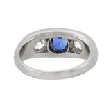 Edwardian Platinum Sapphire + Mine Cut Diamond 3-Stone Ring