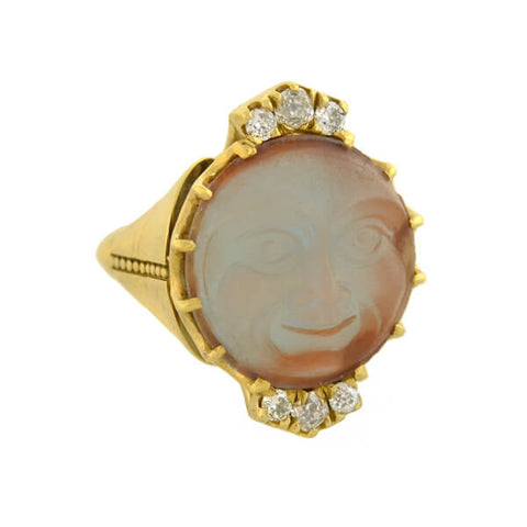 "Estate 18kt Saphiret Glass + Diamond ""Man in the Moon"" Ring"