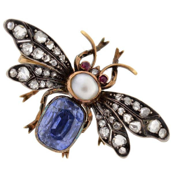 Victorian 18kt Sapphire, Diamond, Pearl & Ruby Bug Pin