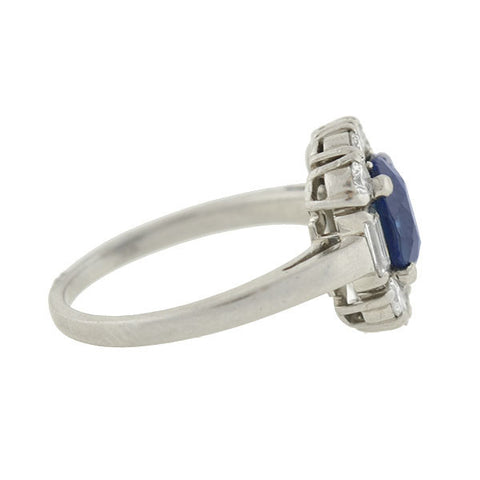 Early Retro Platinum Natural Sapphire & Diamond Ring 1.50ct