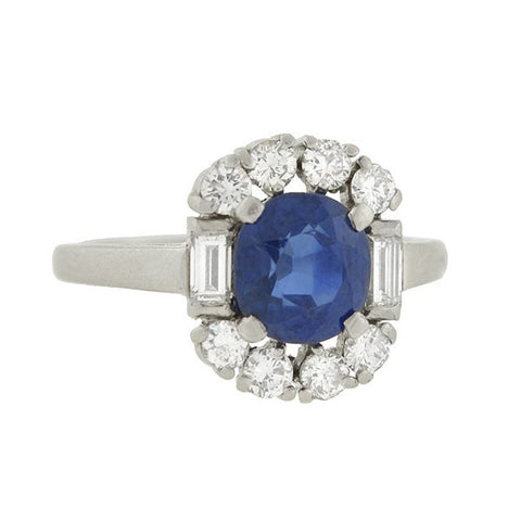 Early Retro Platinum Natural Sapphire Diamond Cluster Ring 1.50ct center