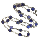 Estate Long Sterling Sapphire Link Necklace 32