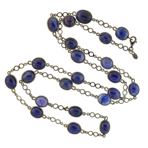 "Estate Long Sterling Sapphire Link Necklace 32"" 100+ctw"