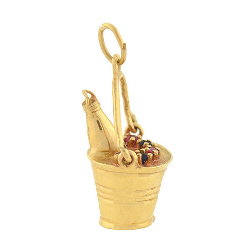 Vintage 14kt Ruby & Sapphire Champagne Bucket Charm
