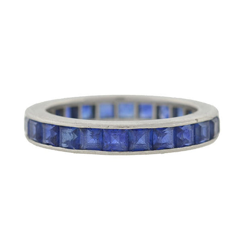 Art Deco Platinum Natural Sapphire Band