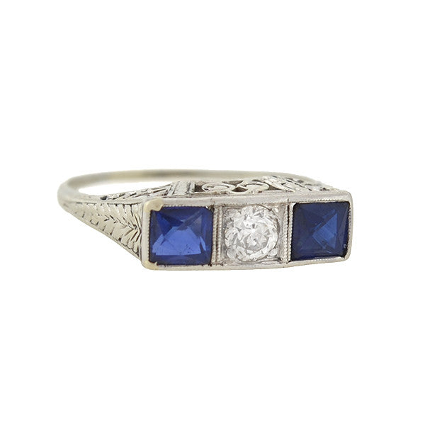 Art Deco 14kt Sapphire & Diamond 3-Stone Filigree Ring