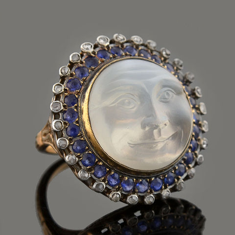 Edwardian 14kt/Sterling Moonstone Heart Ring
