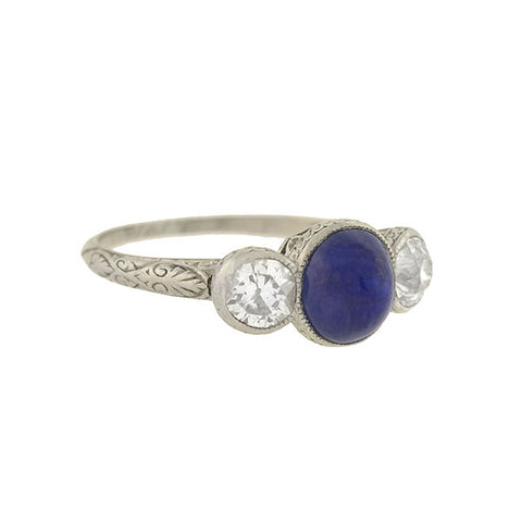 Estate 18kt French Cut Sapphire & Diamond Half Band Ring