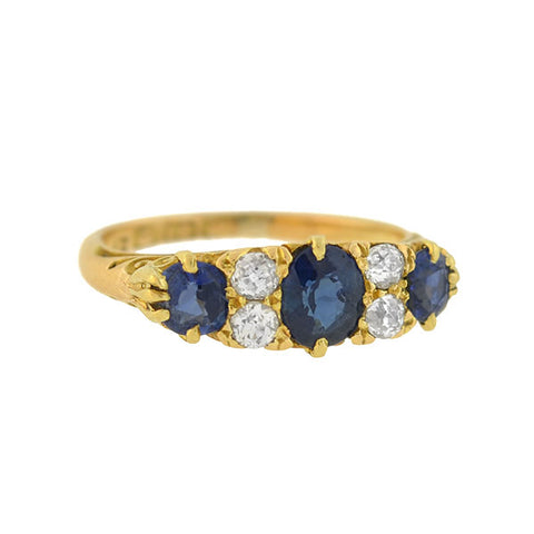 Late Victorian 18kt Sapphire Diamond Ring 0.70ct Center