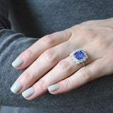 Art Deco Platinum Sapphire & Diamond Ring 4.50ct center