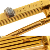 Edwardian French 18kt Sapphire + Diamond Bar Pin