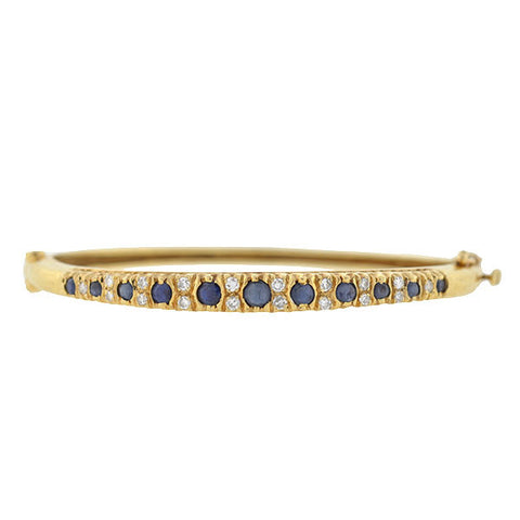 Art Deco 14kt Sapphire & Diamond Bangle Bracelet