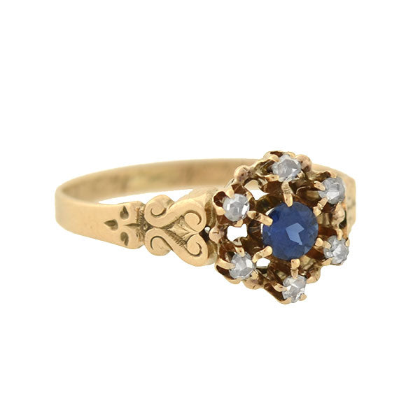 Victorian 14kt Sapphire & Diamond Cluster Ring