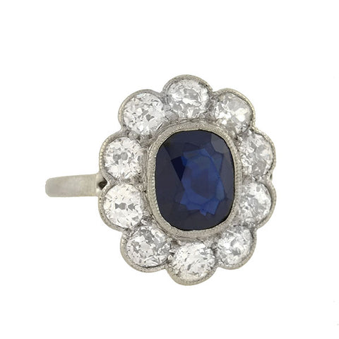 Art Deco Platinum 2.00ct Sapphire Diamond Cluster Ring