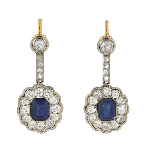 Edwardian 14kt/Platinum Sapphire & Diamond Earrings