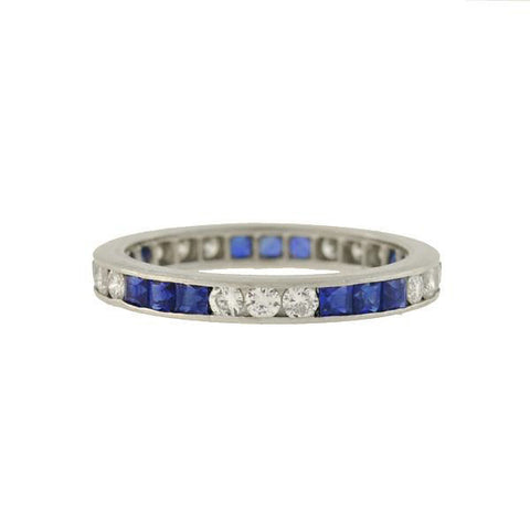 Art Deco Platinum Sapphire Diamond Eternity Band Ring