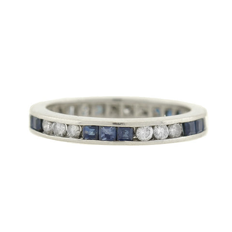 Art Deco Platinum Sapphire & Diamond Eternity Band