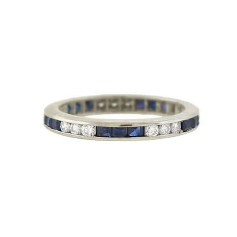 Art Deco 18kt Sapphire & Diamond Eternity Band