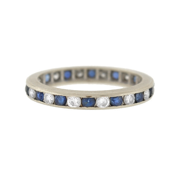 Estate 14kt Sapphire & Diamond Eternity Band