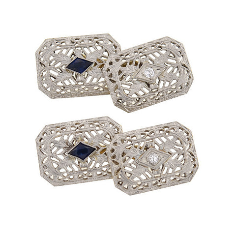 Edwardian 14kt & Platinum Sapphire & Diamond Filigree Cufflinks
