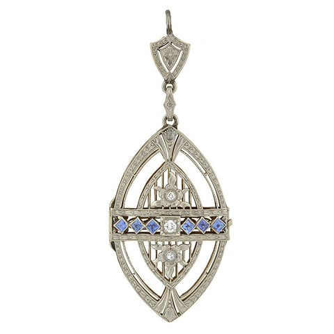Edwardian 18kt Guilloché Enamel & Diamond Locket Necklace