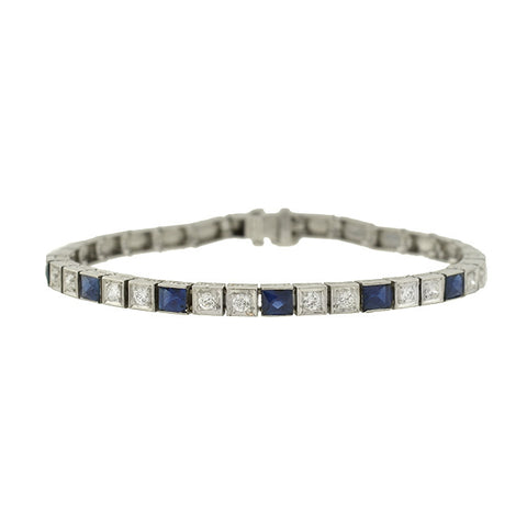 Art Deco Platinum French Cut Sapphire & Diamond Line Bracelet