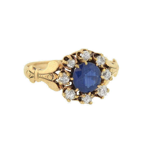 Victorian 14kt Sapphire Mine Cut Diamond Ring 0.70ct center