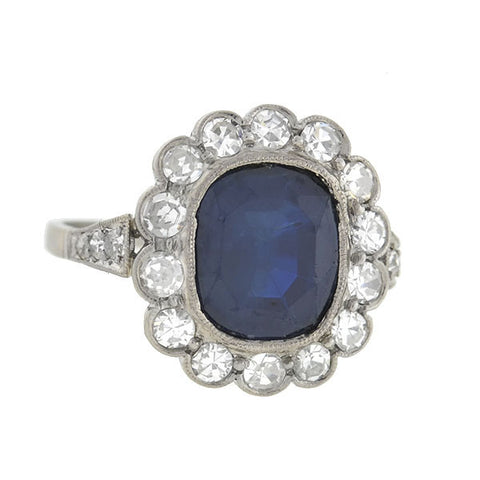 Edwardian Platinum Sapphire & Diamond Ring 3.00ct