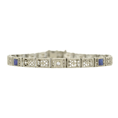 Art Deco 14kt French Cut Sapphire & Diamond Filigree Line Bracelet