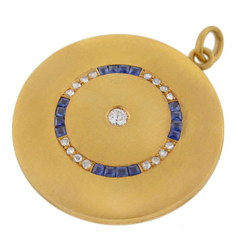 Late Victorian 14kt Gold Diamond & Sapphire Locket