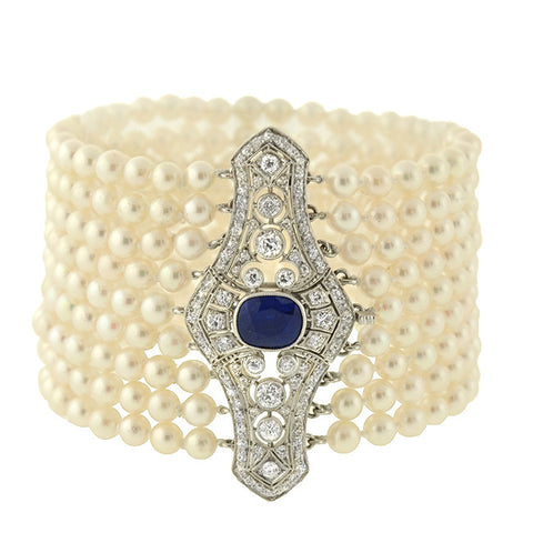 Edwardian Platinum Sapphire Diamond & Cultured Pearl Bracelet