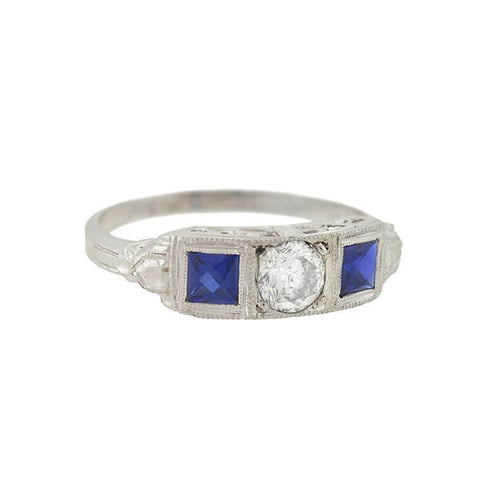 Art Deco 14kt Diamond & French Cut Sapphire Ring