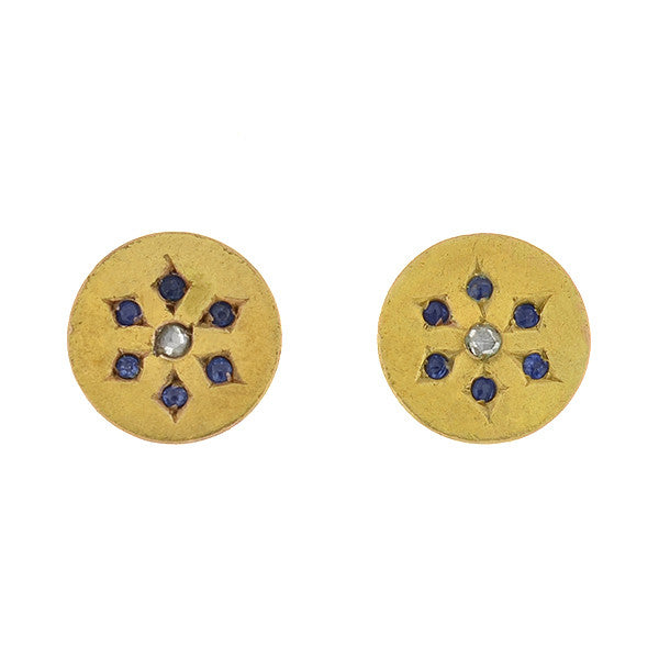 Victorian 14kt Diamond & Sapphire Stud Earrings