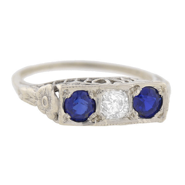 Art Deco 14kt Sapphire & Diamond 3-Stone Gypsy Ring