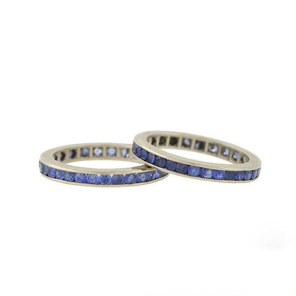 Retro 14kt Sapphire Eternity Bands 2-Piece Ring Set
