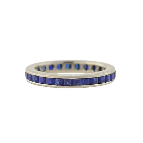 Retro 14kt Gold Square Cut Sapphire Eternity Band