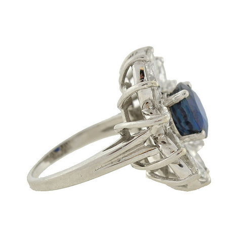 Estate Marquise Diamond & Sapphire Flower Ring
