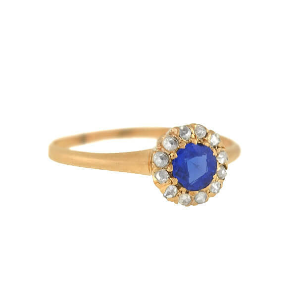 Victorian 14kt Petite Sapphire Rose Cut Diamond Cluster Ring
