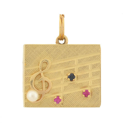 "Retro 14kt Pearl & Gemstone ""Treble Clef"" Music Box Charm/Pendant"