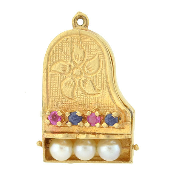 Vintage 14kt Cultured Pearl, Ruby & Sapphire Piano Charm
