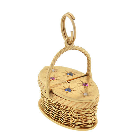 Retro 14kt Sapphire & Ruby Moveable Picnic Basket Charm