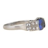 Art Deco Platinum Sapphire + Diamond Ring 1.97ct center
